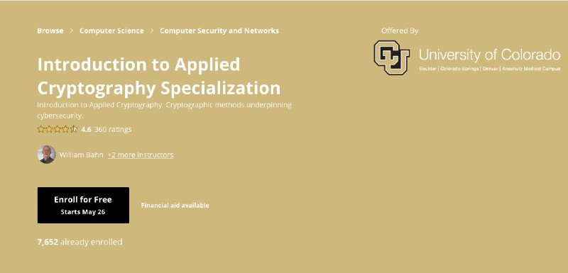 Another cryptography specialization on Coursera