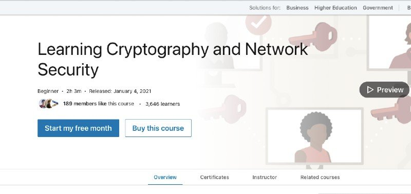 LinkedIn's cryptography and network security course