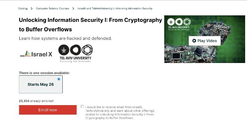 edX online cryptography and buffer overflows course