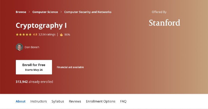 Coursera's online cryptography course