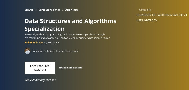 Coursera's data structures and algorithms specialization
