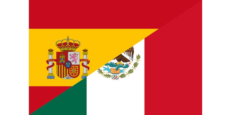 Online Spanish Courses Flags Spain Mexico