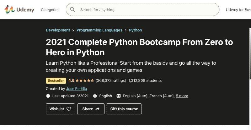 Udemy's Python Bootcamp