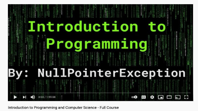 freeCodeCamp's YouTube video course