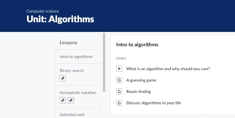 Khan Academy's unit on algorithms