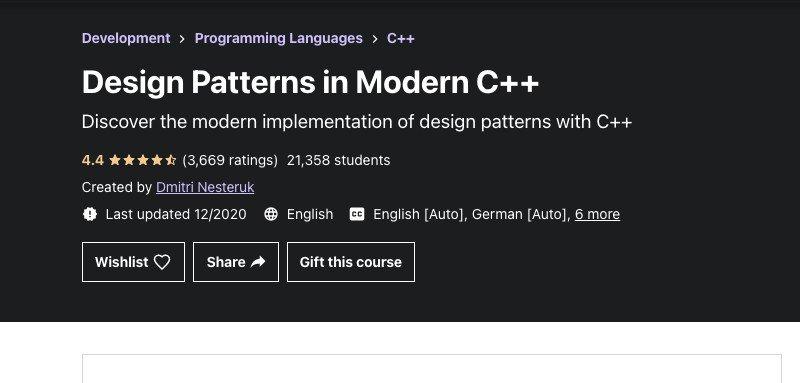 C++ design patterns course on Udemy