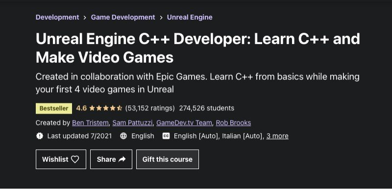 C++ game development course from Udemy