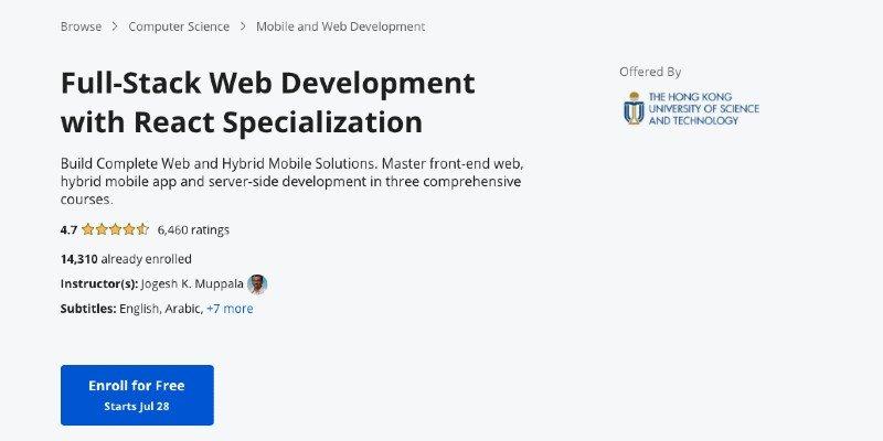 React.js full-stack developer program