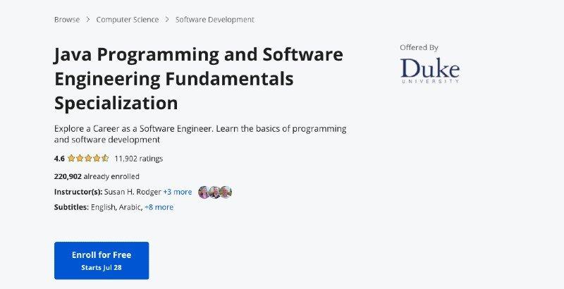 Coursera's software engineering online java course