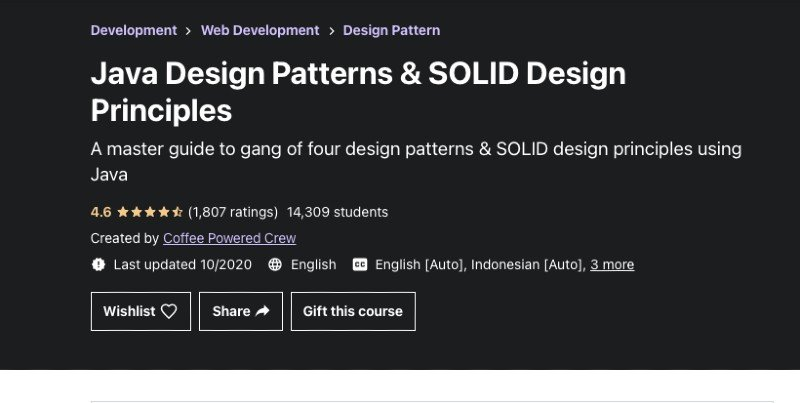 Udemy's Java design patterns course