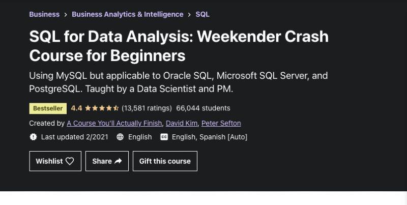 Udemy SQL for data analysis crash course
