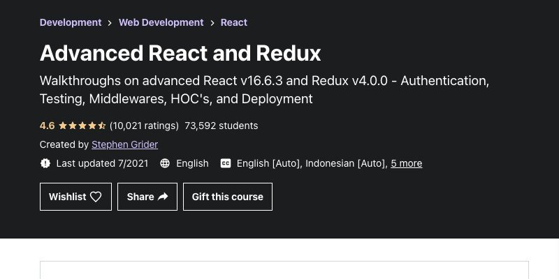 Advanced React course on Udemy