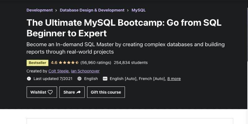Udemy SQL bootcamp