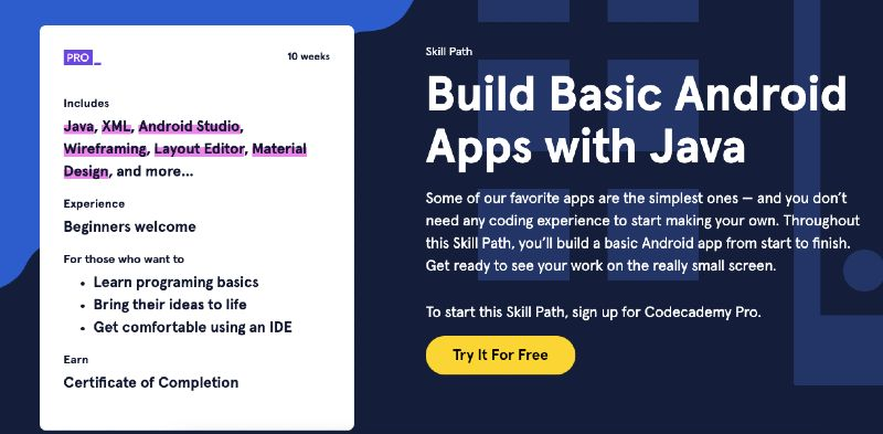 Codecademy's online Java course