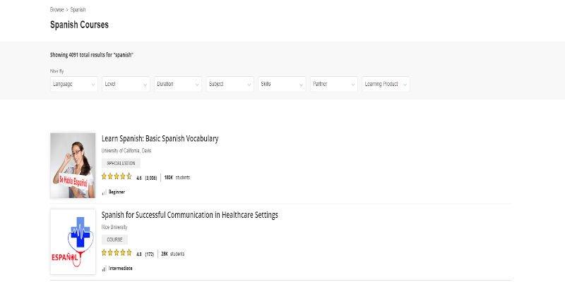 Coursera Spanish Top